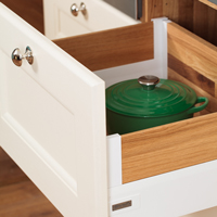 Oak kitchen drawer with Blum Intivo white sides