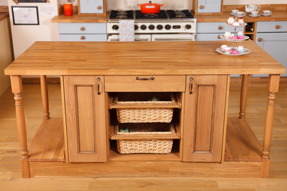 This Solid Oak Kitchen Island Radiates Traditional Charm.