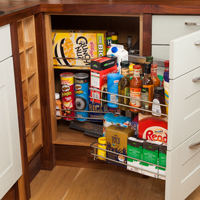 Oak kitchen units with wirework magic storage corner solution