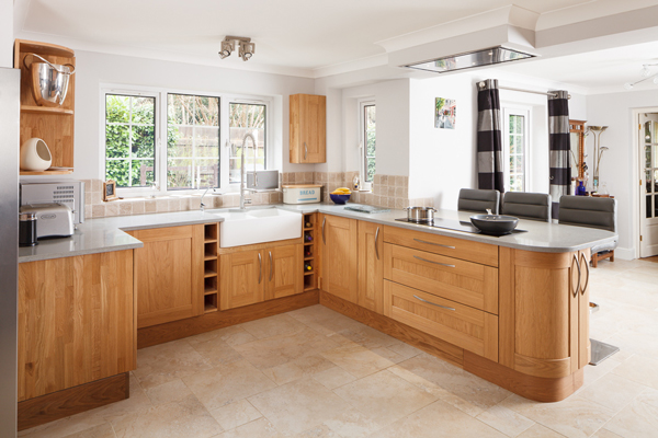 This open kitchen features our lacquered oak Shaker frontals