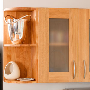 A modern shelf unit and an open shelf with kitchen accessories