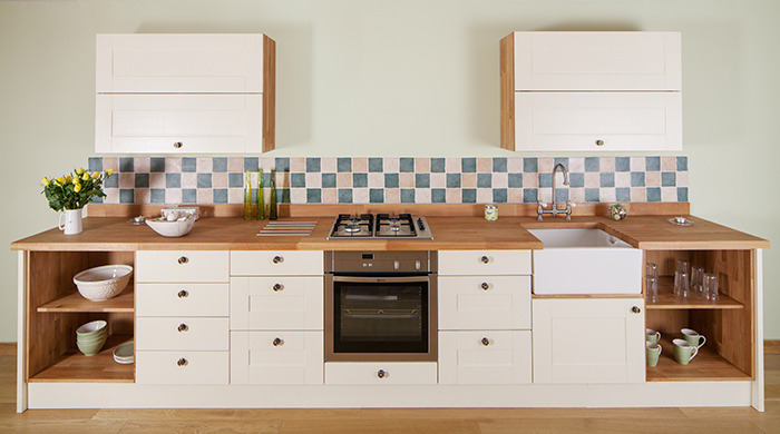 Open base units make a feature of cookware and crockery