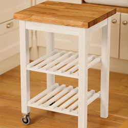 Gain additional storage and work space with a white painted kitchen island trolley with oak tabletop.