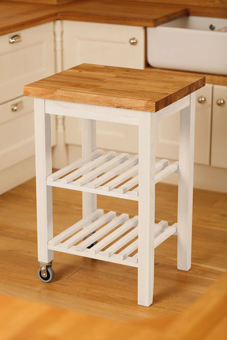 Gain Additional Storage And Work Space With A White Painted Kitchen Island Trolley With Oak Tabletop