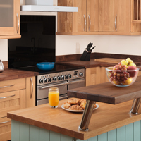 Painted solid wood kitchen island with oak worktop