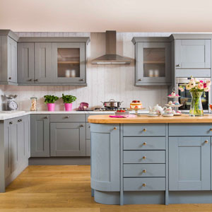 Pale blue paint adds style to an otherwise neutral kitchen for a country feel