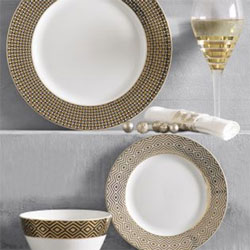 A set of patterned gold plates from Next