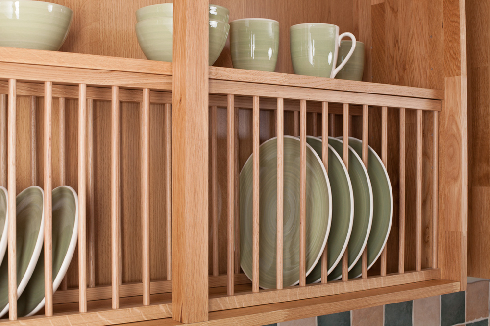 Solid Wood Oak Plate Rack, Wood Kitchen Plate Racks