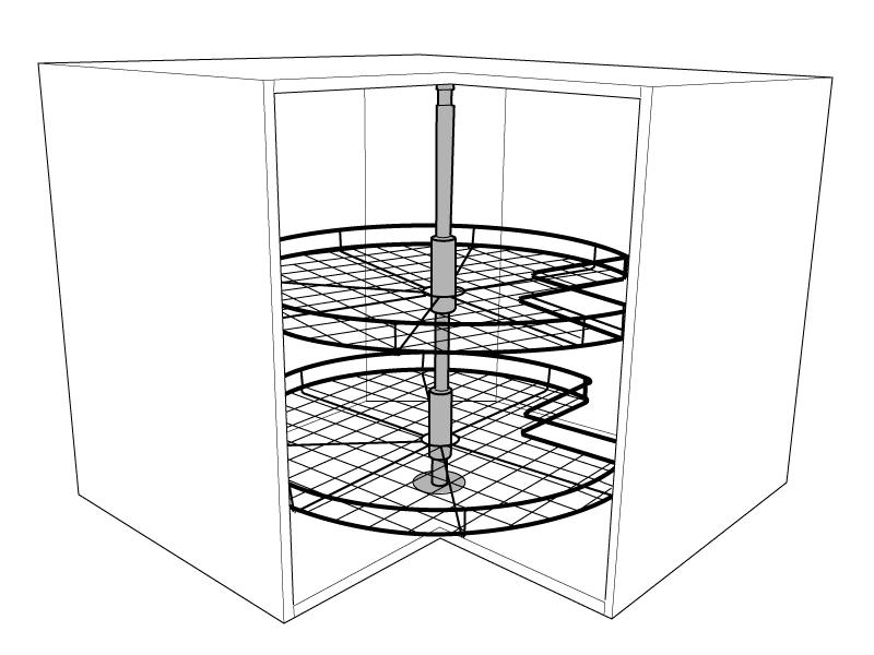 3 4 corner carousel for corner base units solid wood for Kitchen corner base units 800mm