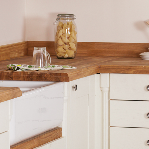 Corner posts with oak worktop