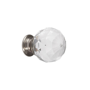 Cut Crystal Glass Knob - Polished Nickel and Crystal - 30mm