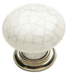 Edison Knob - Iron / Ceramic w/ Pewter & White Finish - 35mm