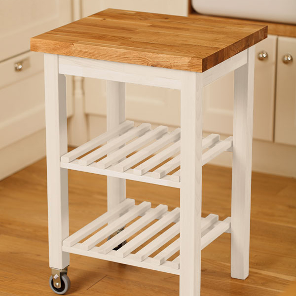Kitchen island trolley painted with oak worktop