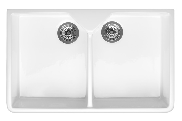 White Ceramic Double Bowl Kitchen Sink: RAK Ceramic Belfast Sink - Double Bowl
