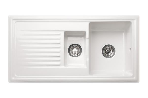 Reginox Ceramic Kitchen Sink - 1.5 Bowl (Reversible)   Solid Wood ...