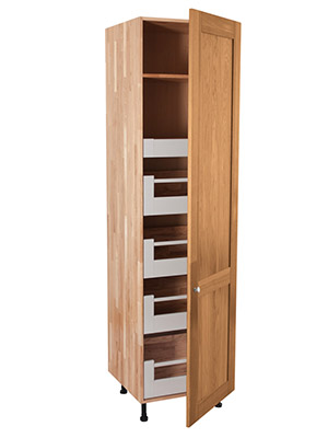 Solid Oak Full Height BLUM Space Tower Cabinet 1 X Full Height Door - H2145mm X W600mm X D570mm - Shaker Lacquered Frontal
