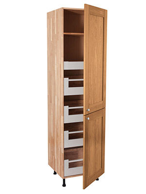 Solid Oak Full Height BLUM Space Tower Cabinet 2 X Split Doors - H2145mm X W600mm X D570mm - Shaker Lacquered Frontals