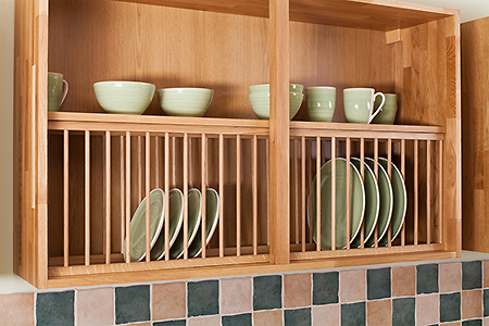 Solid Wood Oak Plate Rack 1200mm X 342mm Painted Light Blue Solid Wood Kitchen Cabinets