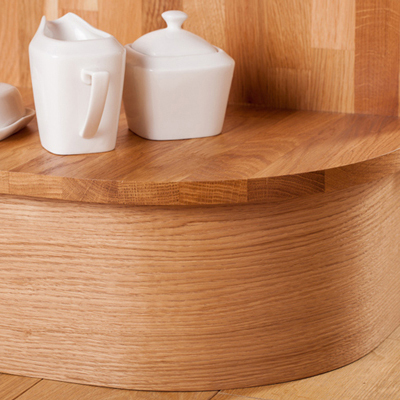 Solid wood curved plinths