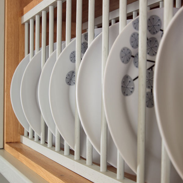 Traditional solid oak kitchen plate racks