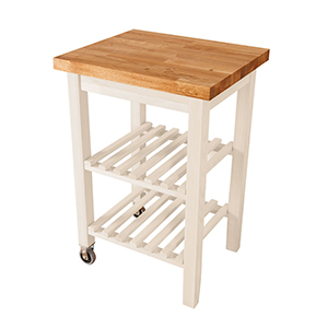 White Kitchen Island Trolley with Oak Tabletop