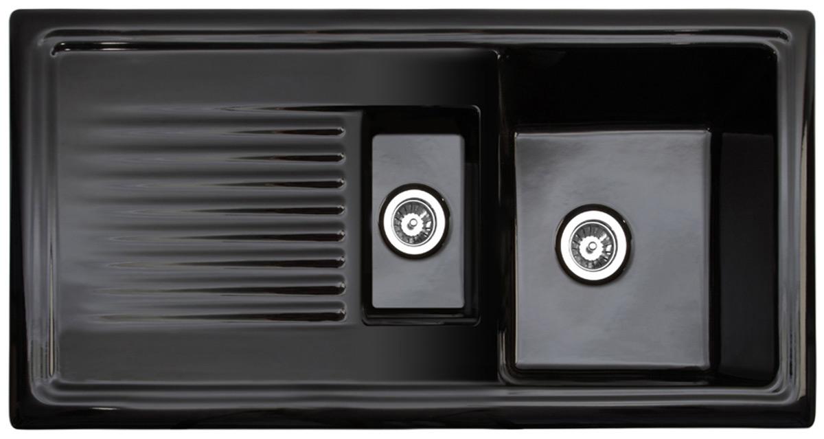 Reginox Black Kitchen Sink with Drainer 15 Bowl Reversible
