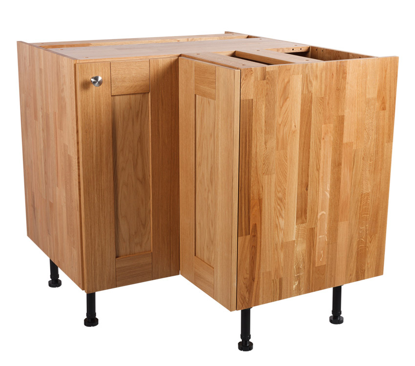 Solid oak kitchen l shaped corner base cabinet h720mm x for Solid wood cabinets company reviews