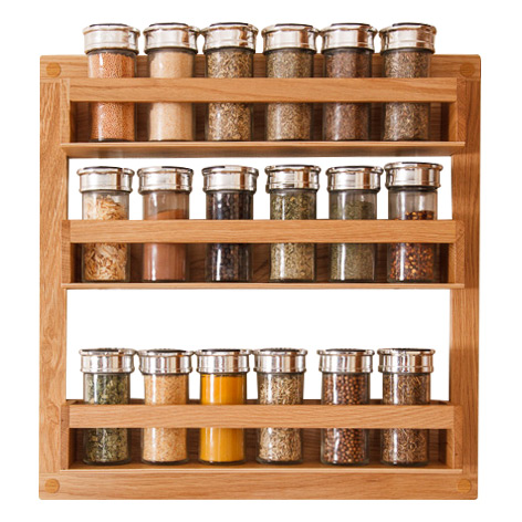 Solid oak spice rack solid wood kitchen cabinets for Solid wood cabinets company reviews