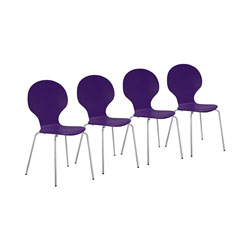 Four contemporary purple chairs with chromed metal legs