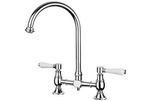 The Rangemaster Belfast Kitchen Mixer Tap has a classic design that looks superb alongside any classic Belfast sink.