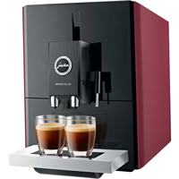 Red bean-to-cup coffee machine by Jura.