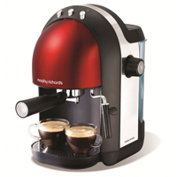 Red espresso coffee machine by Morphy Richards.