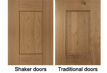 Replacing frontals with shaker or traditional style doors for solid wood kitchens.