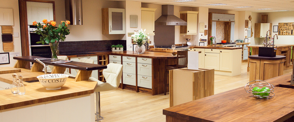 Nine superb solid oak kitchen sets on display at our Gloucester showroom: come and see for yourself