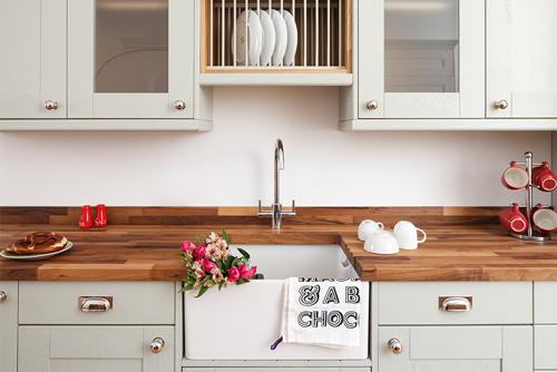 Colour is a fantastic way to create shabby chic style in your kitchen, like this display in our Camden showroom (which features Shaker frontals in Farrow & Ball's Mizzle).