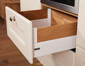 Solid Oak Door and Drawer Frontals - Intivo Silk White - Oak Inserts