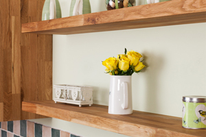 Solid oak floating shelves with 40mm wide staves.