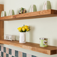 Our solid oak floating shelves are an ideal companion for oak kitchens. Available in two thicknesses and in a range of lengths.