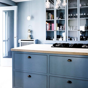 Eye-catching Cook's Blue looks stunning in wooden kitchens, and is the perfect partner for pale wooden countertops
