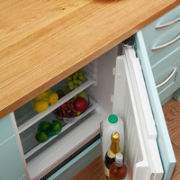 Solid oak kitchen island unit with built-in fridge