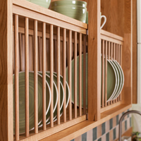 Solid oak kitchen plate rack with wood wall cabinet