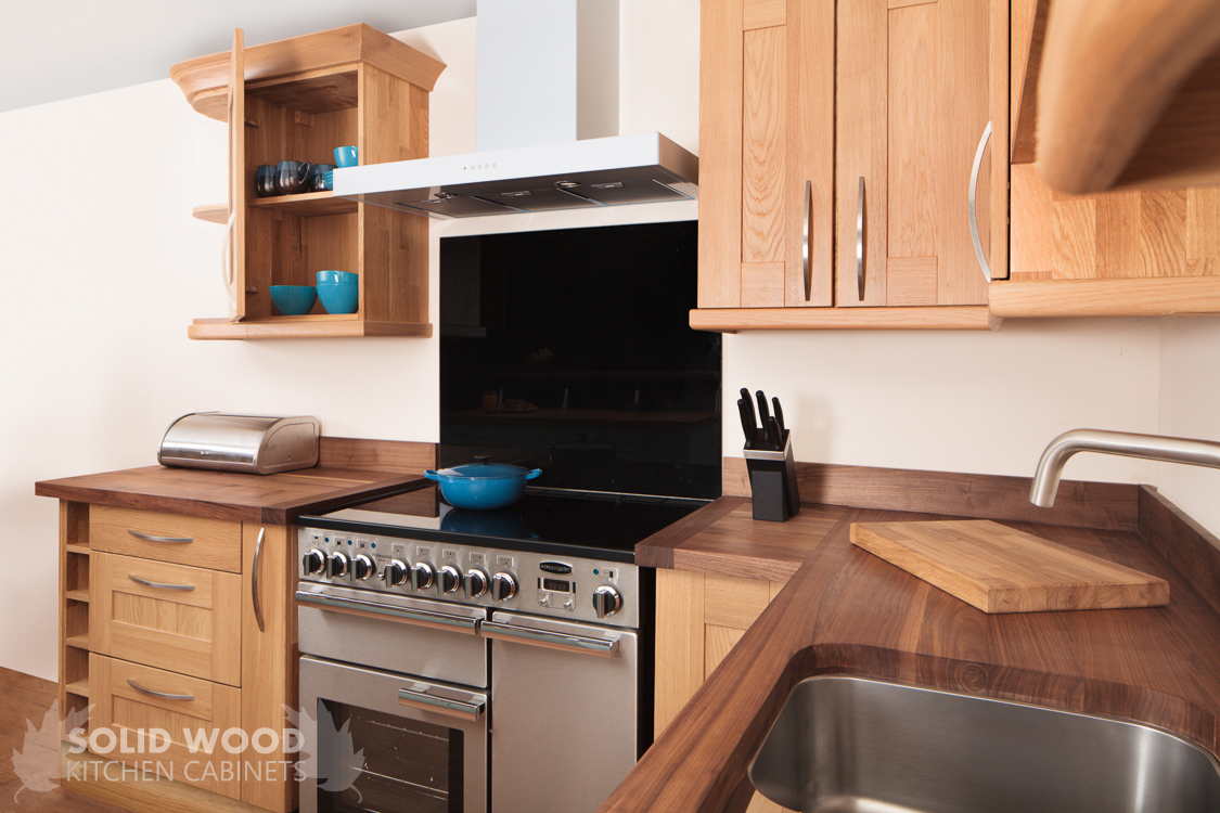 Solid oak kitchen in shaker style with american walnut for American walnut kitchen cabinets
