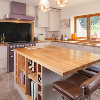 Solid oak shaker kitchen painted in Farrow & Ball's Elephants Breath