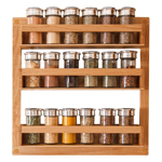Our solid oak spice rack is a perfect accessory for fitting to the door of a wall cabinet, or even directly onto your kitchen wall.