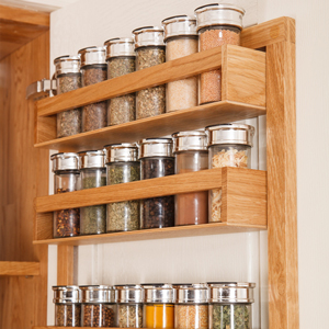 A solid oak spice rack is the perfect complement to oak kitchens.