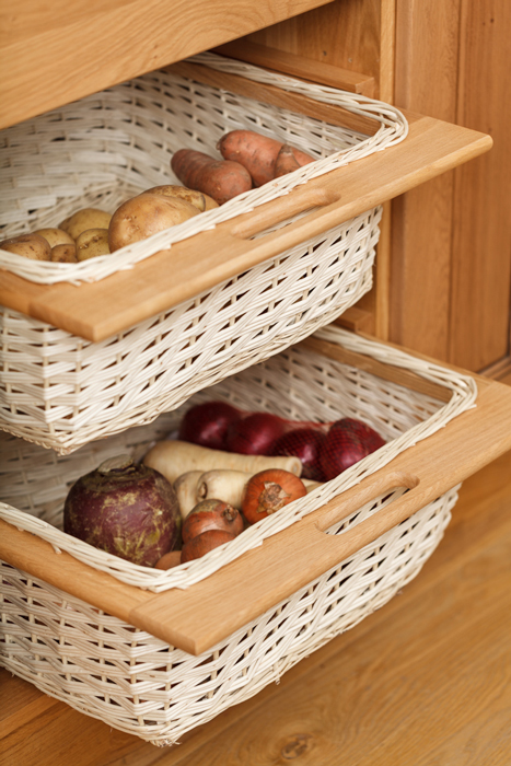 Wicker Baskets Are Both An Attractive And Practical Storage Solution Solid Oak Kitchen Cabinets
