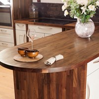 Solid wood kitchen cabinets with American walnut worktop and end panel