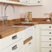 Solid wood kitchen with oak worktop and Belfast sink