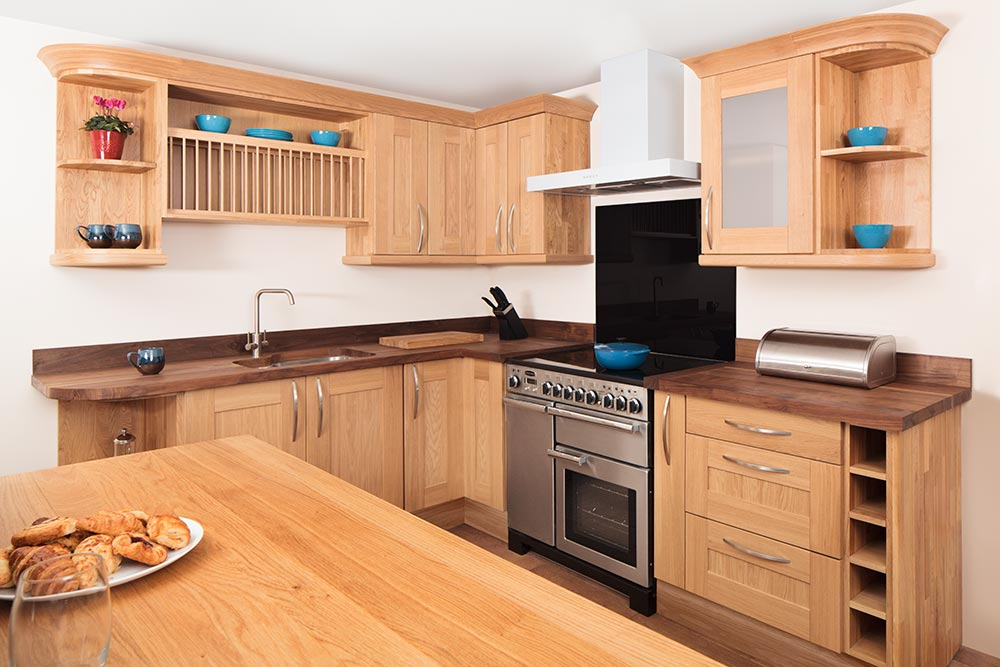 Specialist Solid Oak Kitchen Cabinets In Curved, Belfast