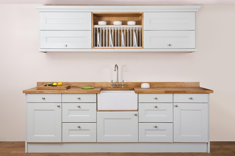 Specialist solid oak kitchen cabinets in curved belfast for Solid wood cabinets company reviews
